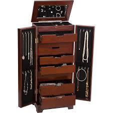 jewelry armoire oak finish mele co lynwood wooden jewelry armoire dark walnut