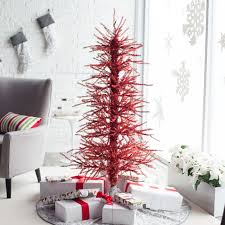 5ft pre lit red tinsel twig christmas tree by sterling tree