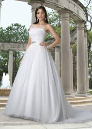 wedding dresses without straps tulle gown one shoulder asymmetrical neckline wedding