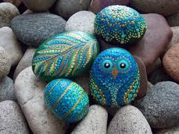 set owl mandala stone feather spiral egg 4 hand painted stones
