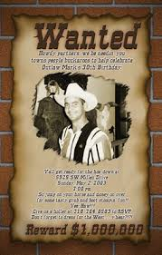 western wanted poster photo birthday invitations