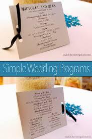 simple wedding programs simple wedding programs