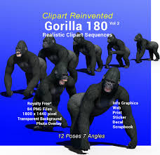 gorilla 180 realistic clipart vol 2 of 2 royality free
