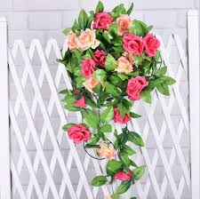 Fake Roses 240cm Fake Silk Roses Ivy Vine Artificial Flowers Plants With