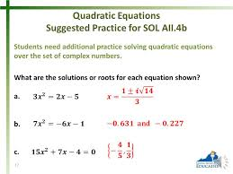 17 quadratic equations