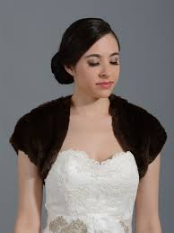 brown faux fur bridal shrug bolero wrap fs001 brown