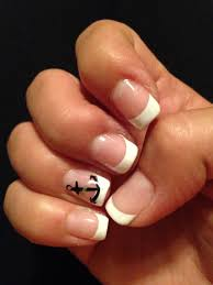cute nail designs white french tip anchor nails blue and white