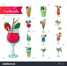 cocktail cartoon set fresh cocktails isolated object on stock vector 145018330