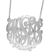 monogrammed pendant script monogrammed pendant 23mm initial necklace in gold and silver