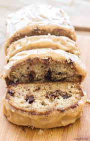 chocolate chip banana bread with peanut butter icing a latte food