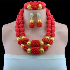 red crystal beads necklace images 2017 fashion red nigerian crystal beads necklace bracelet earrings jpg