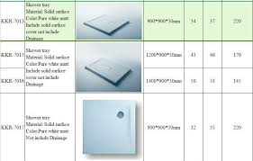 shower basin sizes kkr diffe molds solid surface bathroom shower