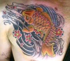 koi carp tattoo images koi fish chest plate tattoo covering scar