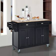 aosom homcom kitchen island modern rolling storage cart on
