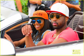 gabrielle union u0026 dwyane wade cruise around with the top down in
