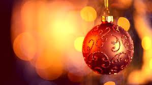 tree lights with hanging ornaments bokeh background