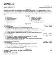 event planner resume best event planner resume exle livecareer