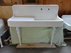 Vintage Kitchen Sink With Cabinet White Porcelain Cast Iron And - Kitchen sink on legs
