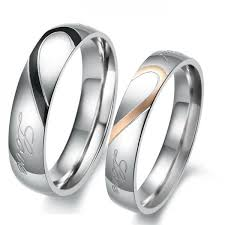 couple rings titanium images Two tone heart titanium steel couple rings jeulia jewelry jpg