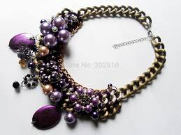 chunky pearl crystal necklace images Purple pearl crystal big chunky rope chokers clavicle necklaces jpg
