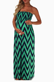 mint green navy chevron strapless maxi maternity dress