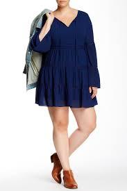 soieblu split neck crochet trim peasant dress plus size