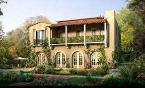 villa style homes villa style homes with balcony and awesome front yard ideas