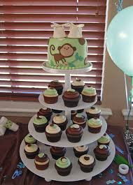 monkey baby shower cake instead of cake serving monkey themed cupcakes is a great idea