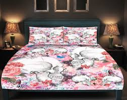 Day Of The Dead Bedding Sugar Skull Comforter Set Or Duvet Cover Shabby Pink Floral Day