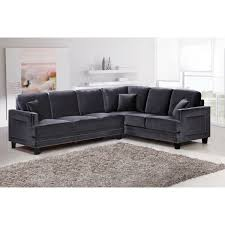 meridian furniture 655gry sectional ferrara sectional sofa in gray