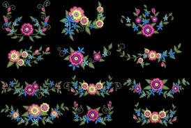 24 flowery floral machine embroidery design cd 5x5 for