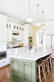 green kitchen cabinets with white island cottage rooms the lettered cottage cottage room kitchen