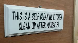 this is a self cleaning kitchen clean up after yourself
