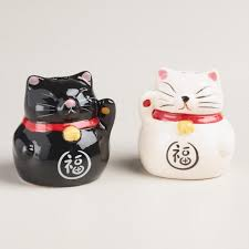 lucky cat salt and pepper shaker set world market