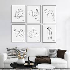 compra impresiones de picasso online al por mayor de china moderno minimalista abstracto picasso linea de dibujo a4 lienzo art print poster forma animal pintura sin