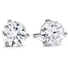 diamond stud three prong stud earrings