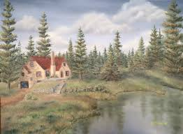 Painting Of House by Summer Woodlands J O Huppler