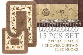 Shower Bath Mat Super Soft Floral Bath Mat 15pc Set Shower Curtain Hooks