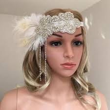 beaded headband women s roaring 20s feather headband 1920s headpiece hair beaded