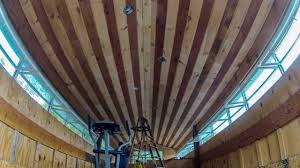 2 creative staining stripes on a tongue and groove pine ceiling