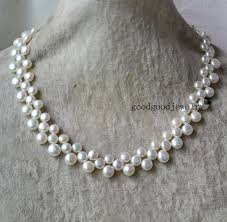 white freshwater pearls necklace images Pearl necklace 3 rows 16 17 inches freshwater pearl necklace jpg
