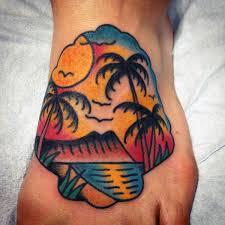 Tropical Themed Tattoos - 100 palm tree tattoos for men tropical design ideas