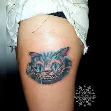 cheshire cat tattoo alice in wonderland portrait neotrad modern