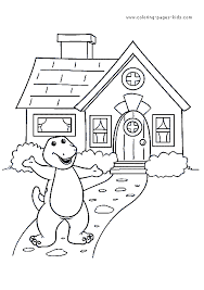 barney color cartoon color pages printable cartoon