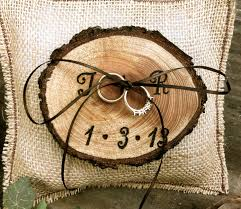 rustic wedding ring bearer pillow holder forest country fall