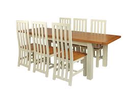 country oak 230cm cream painted extending dining table u0026 6
