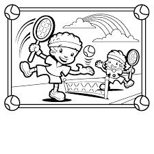 tennis ball racquet cartoon tennis players coloring pages kids aim