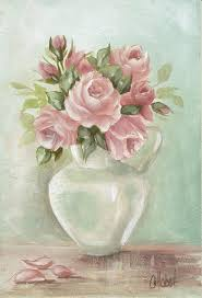 shabby chic pink roses painting on aqua background painting