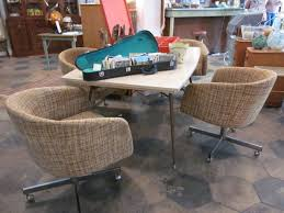 dining table with caster chairs mid century dining table with funky rolling chairs sold the