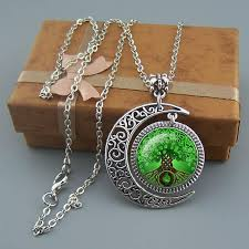 Gift Tree Free Shipping Green Tree Of Life Necklace Family Jewelry Moon Pendant